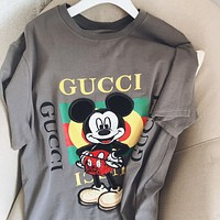 GUCCI Summer New Fashion Letter Stripe Print Embroidery Mouse Women Men Top T-Shirt Gray
