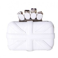 White Faux Skull Ring Chain Clutch