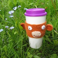 Coffee Cozy Funny Monkey Face, Coffee Sleeve, Crochet Can Koozie , Java Jacket, Travel Drink Cup Holder, Monkey Face, Animal Cozy