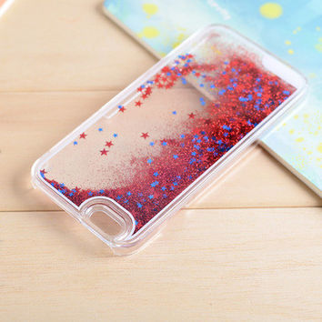 Star Dynamic Liquid Red Glitter Sand Quicksand Star Bling Clear iPhone 5/5S Phone Case