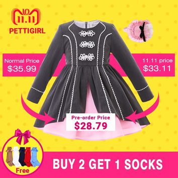 Pettigirl Newest Fashion Autumn Vintage Party Dress With Pink Headband Long Sleeve Lace  Kids Pageant Clothing G-DMGD106-B312
