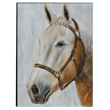 Hand Painted Horse Wooden Wall Art Decor, Multicolor By The Urban Port