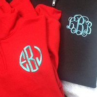 Plus Size 2XL 3XL quarter zip sweatshirt monogrammed