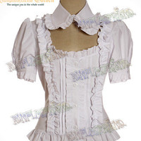 Gothic Lolita Basic Short Puffy Sleeves Pintuck Blouse*5color Instant shipping