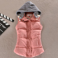 Winter Female Women Winter Vests Sleeveless Hooded Jackets Coat Casual Lady Vest Waistcoat Plus Size 4XL 8 Colors KH861137