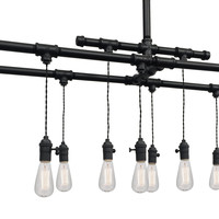 Industrial Custom Rustic Pipe and Cloth Cord Chandelier - 12 Light