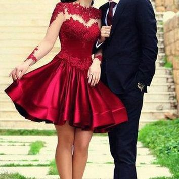 New Women Patchwork Lace Pleated See Through Long Sleeve Fashion Bridesmaids Party Mini Dress