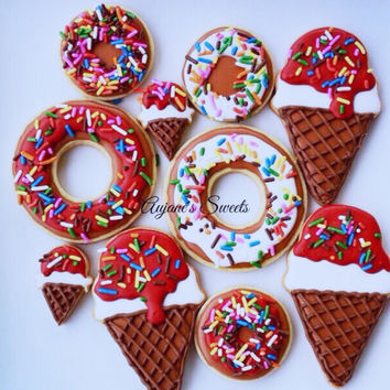Ice-Cream & Donut Sugar Cookies - Summer Cookies - Ice Cream Theme - Donuts - Morning Breakfast - Waffle Cone