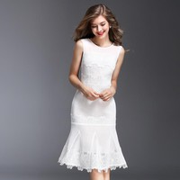 Women Summer Dress Office Ladies Sexy Hollow Out White Trumpetl Skinny Dresses Short Sleeve Plus Size Empire Slim Dress