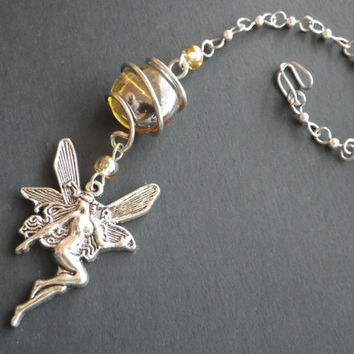 SALE- Rear View Mirror Charm- Sunshine Fairy- Silver Pixie Charm- Fairy- Yellow- Window Charm- Spring- Birthday- Gift for Her- Teen Girls