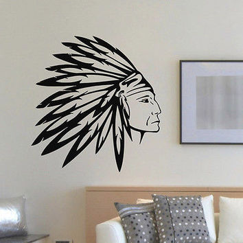 WALL DECAL VINYL STICKER PEOPLE NATIVE AMERICAN INDIAN MAN TRIBAL DECOR SB891
