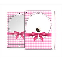 The Pink and White Plaid with Lace and Ribbon Skin Set for the Apple iPad Air 2
