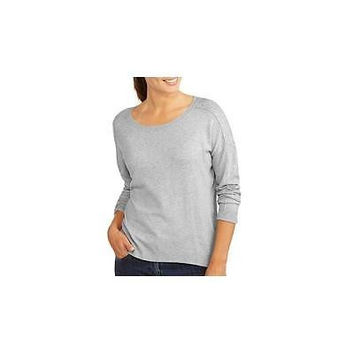 George Women's Scoop Neck Embellished Sleeve Sweater, Lt Grey, 14