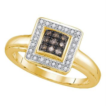 Yellow-tone Sterling Silver Women's Round Cognac-brown Color Enhanced Diamond Cluster Ring 1/6 Cttw - FREE Shipping (US/CAN)