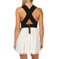 Black Colorblock Bandage Dress