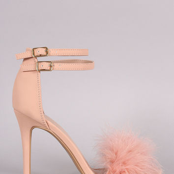 Shoe Republic LA Pom Pom Open Toe Heel