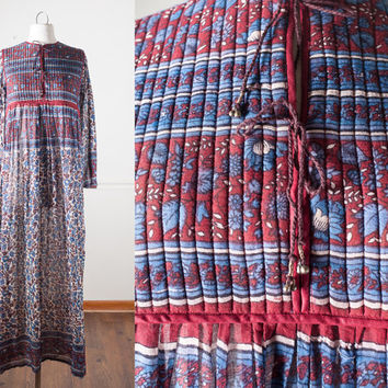 70s Indian Cotton Dress | 70s Peasant Dress Boho Maxi Dress Hippie Dress Bib Dress Festival Dress Boho Chic Prairie Gypsy Romantic Gauzy