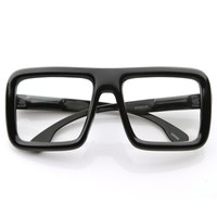 Oversize Square Block Thick Frame Clear Lens Glasses 8548
