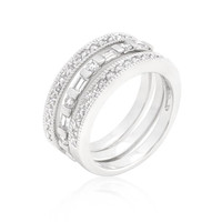 Simple Cubic Zirconia Ring Set, size : 07