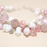 Light Pink and White Pearls Bracelet ,Beaded Bracelet, Bridal Bracelet, Wedding Bracelet