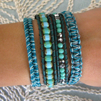 Macrame and Beaded Wrap Bracelet With Dark by MaisJewelry on Etsy