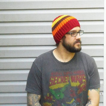 Mens Crochet Beanie Hat in Fall Stripes, ready to ship.