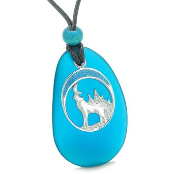 Large Cobalt Blue Frosted Sea Glass Howling Wolf Protection Amulet Puffy Water Drop Adjustable Necklace