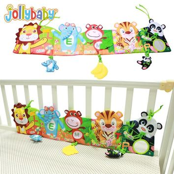 Jollybaby Baby bed Around and Cloth Book Infant Rattle with Animal Model Baby Educational Plush Animal Story Developing Toys