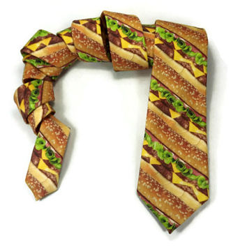 Hamburger necktie, Skinny tie, Food tie, novelty necktie, food accessory,cheese tomato lettus, hamburger patty, hamburger tie