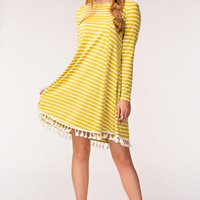 Wasabi Tassel Trim Striped Dress