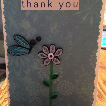 Thank you card, handmade card, quilling card, blank card, card with envelope, recycled card, unique card, quilling butterfly, quilling