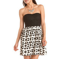 Lace Top Geo Print Tube Dress: Charlotte Russe