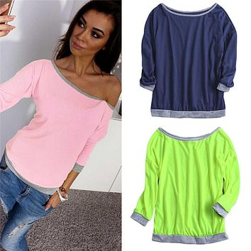 New Fashion Women Summer T Shirt Boat Neck Three Quarter Sleeves Candy Color