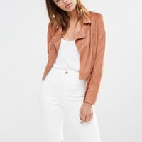 Missguided | Missguided Faux Suede Biker Jacket at ASOS