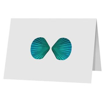 "Mermaid Shell Bra Blue 10 Pack of 5x7"" Top Fold Blank Greeting Cards by TooLoud"