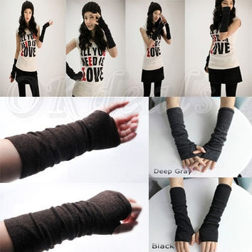 Winter Fall Long Soft Knit Sleeve Arm Leg Women Fingerless Gloves Winter Mitten Warmer = 1958174916