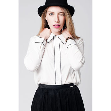 White shirt with contrast binding