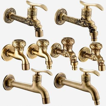Artistic Wall Mount Cold Water Basin Faucet Brass Antique Washing Machine Taps Bathroom Mop Pool Taps Bibcocks