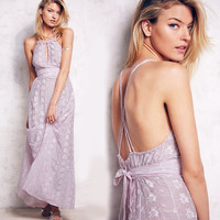 Sexy Pink Silk & Cotton Embroidery Dress