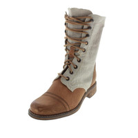 Diesel Womens The Wild Land Pampas Canvas Leather Trim Combat Boots