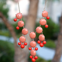 J. Crew Inspired Bubble Necklace Coral Bib Statement Necklace