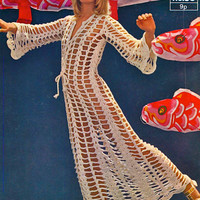 Instant download-Vintage 1960s crochet pattern for a hippy surfer beach kaftan pdf email delivery