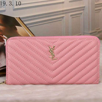 YSL Women Fashion Leather Zipper Wallet Purse