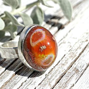 unique fire opal ring, matrix opal ring silver, raw opal ring, mexican fire opal ring, opal engagement ring, opal anniversary gift for her