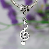 New High Quality Alloy Pendant Music Note Charm Beads Women Snake Chain Diy Fit Pandora Bracelets & Bangles Jewelry YW15568