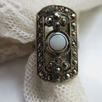 Vintage Sterling Natural Opal and Marcasite Ring