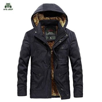 Afs Jeep Brand New Winter Coat male Parka Men Thick Warm Wool Liner Hooded Collar Plus Size M-3XL Winter Jacket