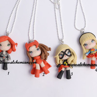 1 necklace, choise Black Widow Scarlet witch Super girl Miss Marvel ooak necklace made in italy