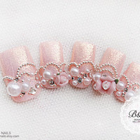 "Princess Style Fake Nail Set- "" La vien en Rose """