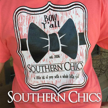 Southern Chics Big Bow Y'all Prep Country Girlie Bright T Shirt